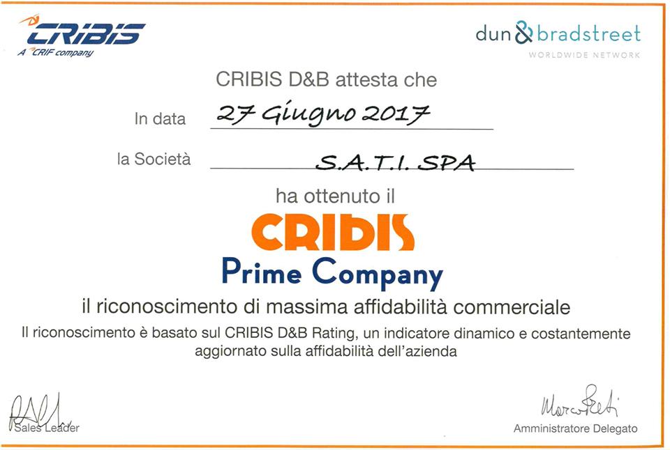 Certificato Cribis Prime Company